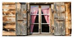Beautiful Window Wooden Facade Of A Chalet In Switzerland Beach Towel