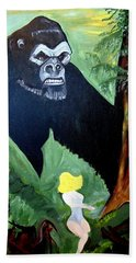 Beach Towel featuring the painting Beauty And The Beast by Nora Shepley