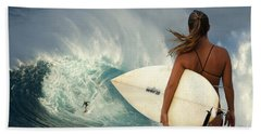 Surfer Girl Meets Jaws Beach Sheet by Bob Christopher