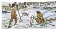 Beach Towel featuring the painting Beaver Hunting, 19th Cent by Granger