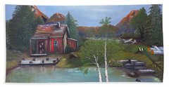 Beach Towel featuring the painting Beaver Pond - Mary Krupa by Bernadette Krupa