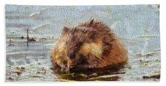 Beaver Portrait On Canvas Beach Towel