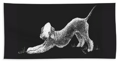 Beach Towel featuring the drawing Bedlington Terrier by Rachel Hames