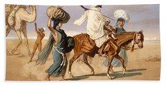 Bedouin Family Travels Across The Desert Beach Towel by Henri de Montaut