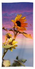 Beach Towel featuring the photograph Bee A Sunflower by Aaron Berg