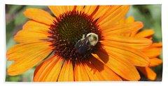Bee On Flower Beach Sheet by John Telfer