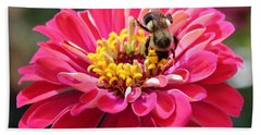 Beach Towel featuring the photograph Bee On Pink Flower by Cynthia Guinn