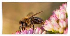 Bee Sitting On Flower Beach Towel