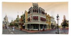 Before The Gates Open Magic Kingdom Main Street. Beach Towel