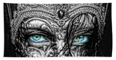 Behind Blue Eyes Beach Towel by Mo T