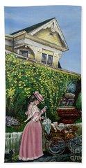 Behind The Garden Gate Beach Towel by Linda Simon