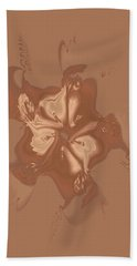 Beige Satin Morning Glory Beach Towel
