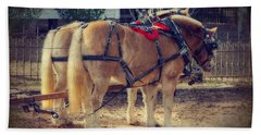 Belgium Draft Horses Beach Towel