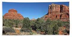 Beach Towel featuring the photograph Bell Rock And Courthouse Butte by Penny Meyers