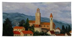 Beach Towel featuring the painting Bell Tower Of Vinci by Julie Brugh Riffey