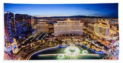 Bellagio Rountains From Eiffel Tower At Dusk Beach Sheet