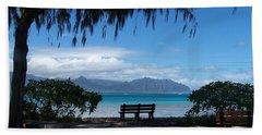 Bench Of Kaneohe Bay Hawaii Beach Towel