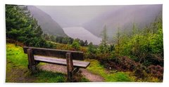 Bench Over The Upper Lake. Glendalough. Ireland Beach Sheet