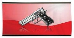 Beretta 92fs Inox Over Red And Black Beach Towel