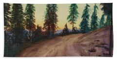 Beach Towel featuring the painting Bergebo Forest by Martin Howard