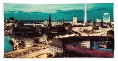 Berlin Germany Major Landmarks At Night Beach Towel