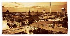 Berlin Germany Major Landmarks At Sunset In Gold Tone Beach Towel