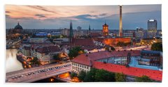 Berlin Germany Major Landmarks At Sunset Beach Towel