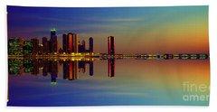 Between Night And Day Chicago Skyline Mirrored Beach Towel