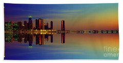 Between Night And Day Chicago Skyline Mirrored Beach Sheet