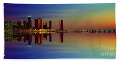 Between Night And Day Chicago Skyline Mirrored Beach Sheet