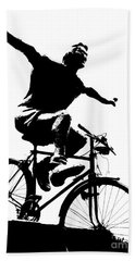 Bicycle - Black And White Pixels Beach Sheet