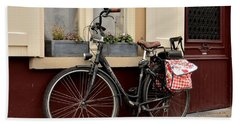 Bicycle With Baby Seat At Doorway Bruges Belgium Beach Towel