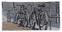 Bicycles On A Rail Beach Towel by Joyce  Wasser