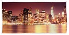 Big Apple - Night Skyline - New York City Beach Towel