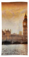 Big Ben At Dusk Beach Towel by Pixel Chimp