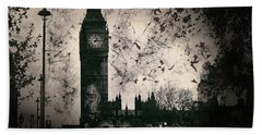 Big Ben Black And White Beach Towel