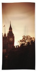 Big Ben In Sepia Beach Towel by Rachel Mirror