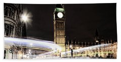 Big Ben With Light Trails Beach Sheet