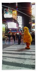 Big Bird On Times Square Beach Towel