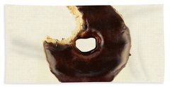 Beach Towel featuring the photograph Chocolate Donut With Missing Bite by Vizual Studio