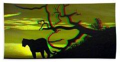 Big Cat Silhouette -  Use Red-cyan 3d Glasses Beach Towel