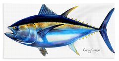Big Eye Tuna Beach Towel by Carey Chen