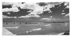 Big Lake Clouds Black White Beach Towel