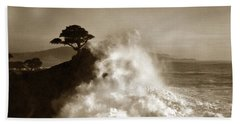 Big Wave Hitting The Lone Cypress Tree Pebble Beach California 1916 Beach Sheet by California Views Mr Pat Hathaway Archives
