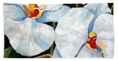 Big White Orchids - Floral Art By Betty Cummings Beach Sheet by Sharon Cummings