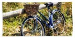 Beach Towel featuring the photograph Bike At Nantucket Beach by Tammy Wetzel