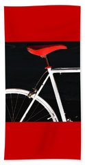 Bike In Black White And Red No 1 Beach Sheet by Ben and Raisa Gertsberg