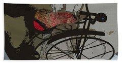 Beach Towel featuring the painting Bike Seat View by Ecinja