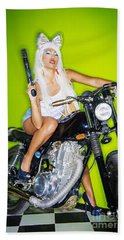 Biker Girl Beach Towel