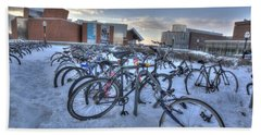 Bikes At University Of Minnesota  Beach Sheet by Amanda Stadther